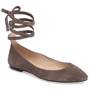 VINCE CAMUTO Bevian Gray Suede Tie Ballet Flats